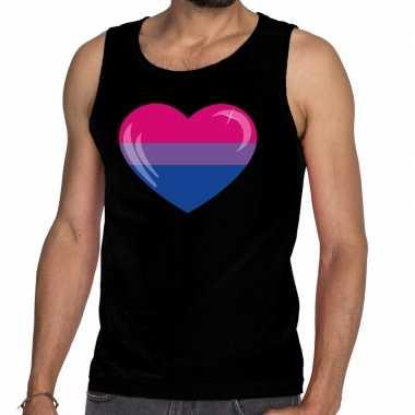 Bi hart gay pride tanktop/mouwloos shirt zwart heren
