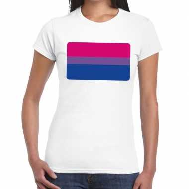 Bi vlag gay pride t shirt wit dames