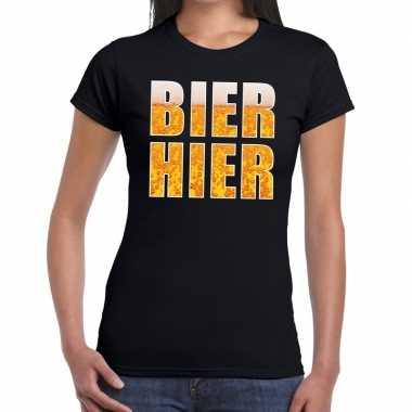 Bier hier tekst t shirt zwart dames