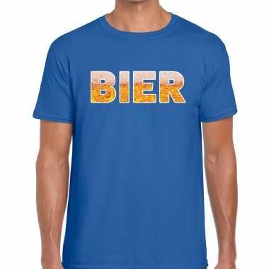 Bier tekst t shirt blauw heren