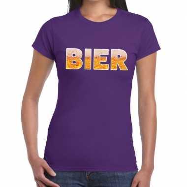 Bier tekst t shirt paars dames