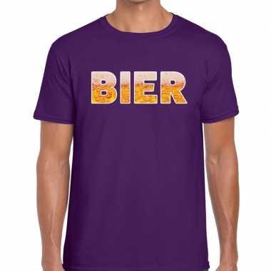 Bier tekst t shirt paars heren
