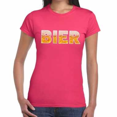 Bier tekst t shirt roze dames