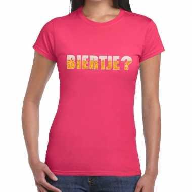 Biertje tekst t shirt roze dames