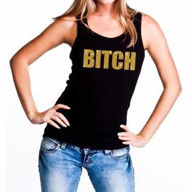 Bitch glitter tekst tanktop / mouwloos shirt zwart dames
