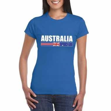 Blauw australie supporter t shirt dames
