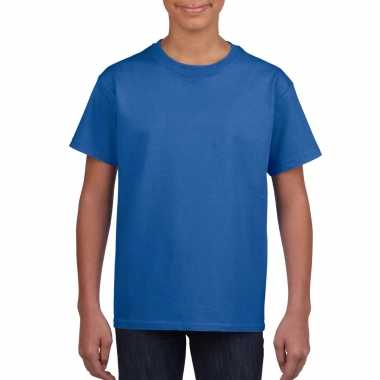 Blauw basic t shirt ronde hals kinderen / unisex katoen