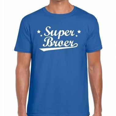 Blauw cadeaushirt broers super broer bedrukking