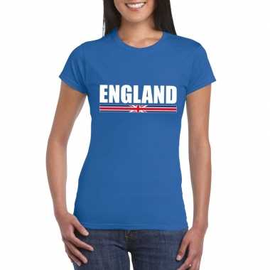 Blauw engeland supporter t shirt dames