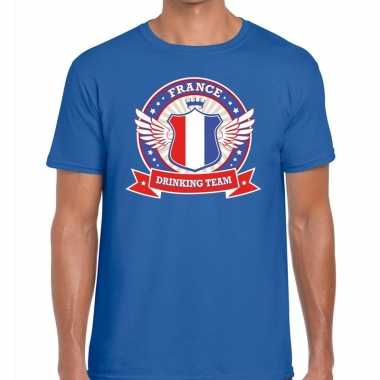 Blauw france drinking team t shirt heren