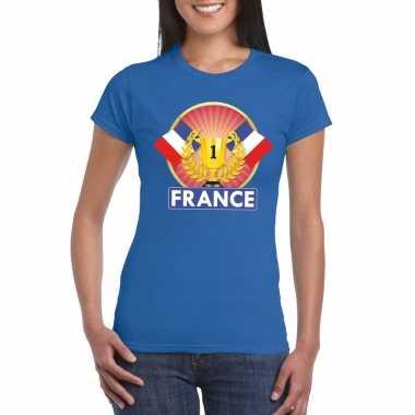 Blauw frankrijk supporter kampioen shirt dames