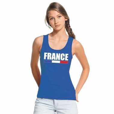 Blauw frankrijk supporter singlet shirt/ tanktop dames