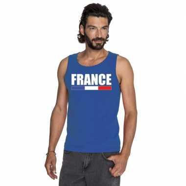 Blauw frankrijk supporter singlet shirt/ tanktop heren