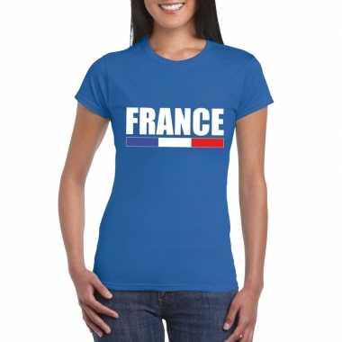 Blauw frankrijk supporter t shirt dames