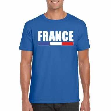 Blauw frankrijk supporter t shirt heren