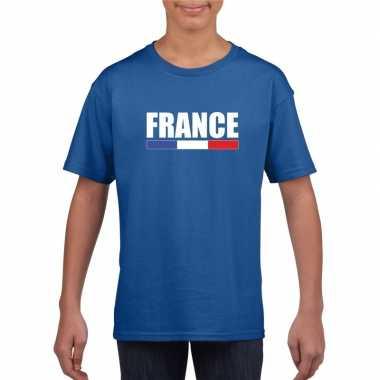 Blauw frankrijk supporter t shirt kinderen