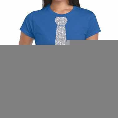 Blauw fun t shirt stropdas glitter zilver dames