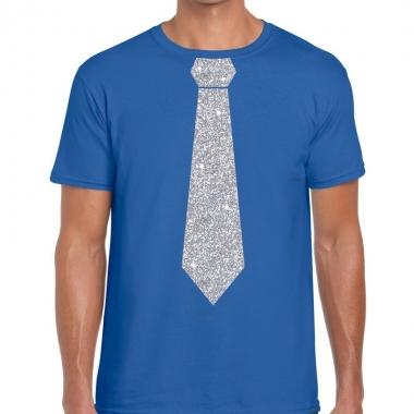 Blauw fun t shirt stropdas glitter zilver heren