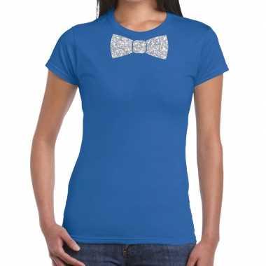 Blauw fun t shirt vlinderdas glitter zilver dames