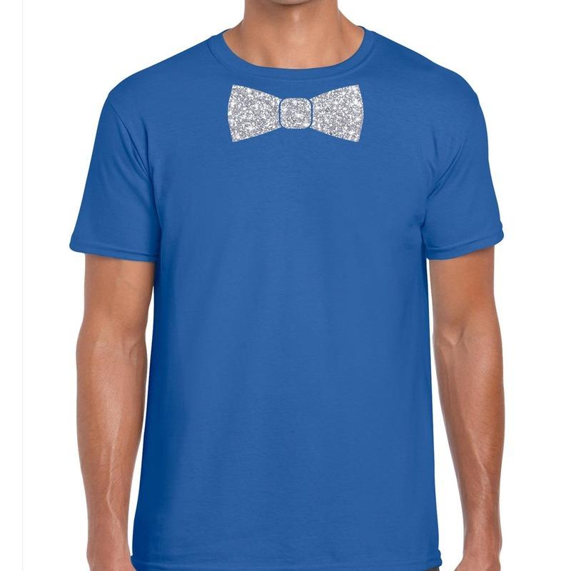 Blauw fun t shirt vlinderdas glitter zilver heren