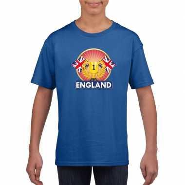 Blauw groot brittannie/ engeland supporter kampioen shirt kind