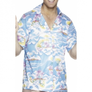Blauw hawaii t-shirt