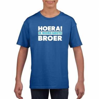 Blauw hoera ik word grote broer t shirt jongens