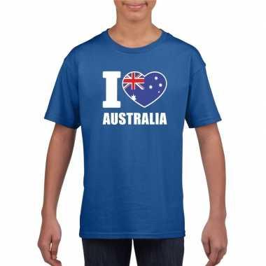 Blauw i love australie fan shirt kinderen