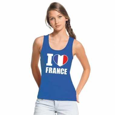 Blauw i love frankrijk fan singlet shirt/ tanktop dames