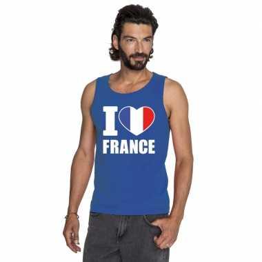 Blauw i love frankrijk fan singlet shirt/ tanktop heren