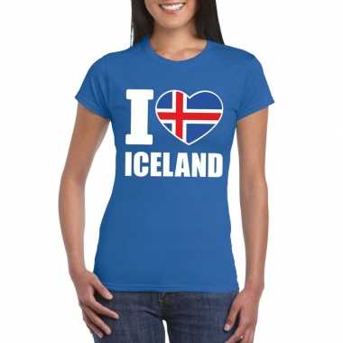 Blauw i love ijsland fan shirt dames