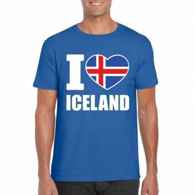 Blauw i love ijsland fan shirt heren
