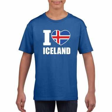 Blauw i love ijsland fan shirt kinderen