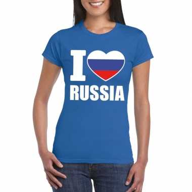 Blauw i love rusland fan shirt dames