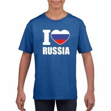 Blauw i love rusland fan shirt kinderen