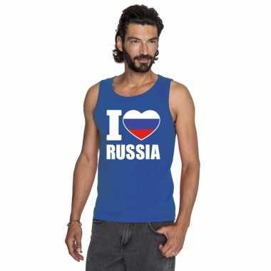 Blauw i love rusland fan singlet shirt/ tanktop heren