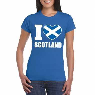 Blauw i love schotland fan shirt dames