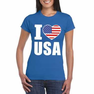 Blauw i love usa amerika fan shirt dames
