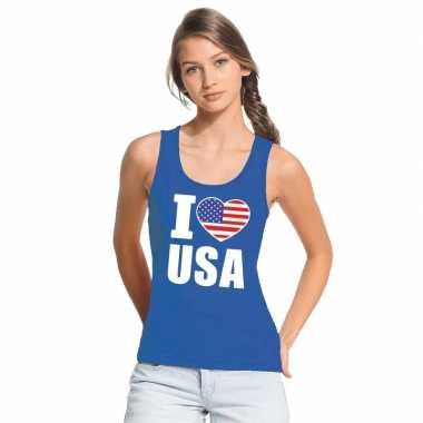 Blauw i love usa/ amerika fan singlet shirt/ tanktop dames