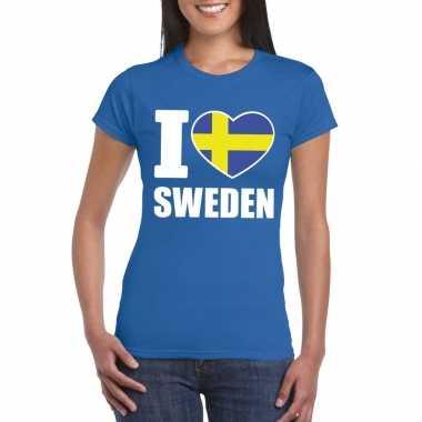 Blauw i love zweden fan shirt dames