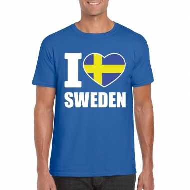 Blauw i love zweden fan shirt heren