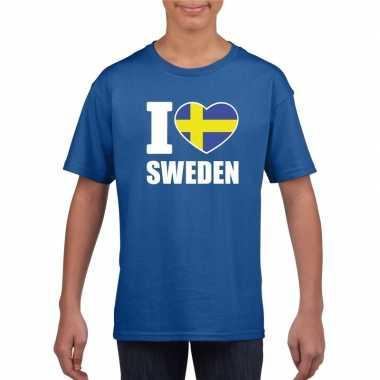 Blauw i love zweden fan shirt kinderen