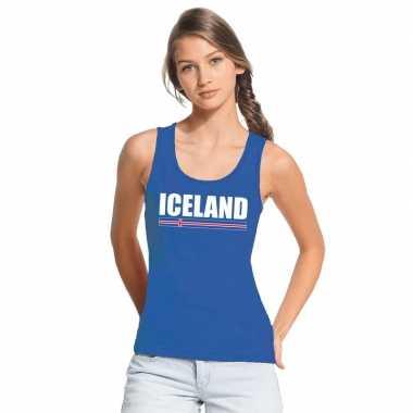 Blauw ijsland supporter singlet shirt/ tanktop dames