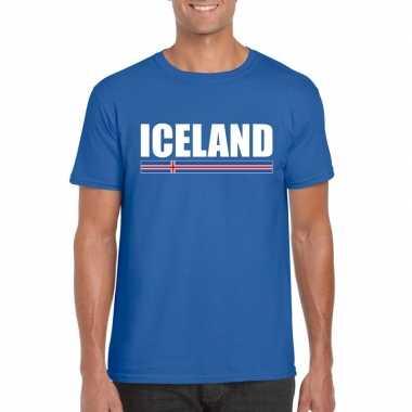 Blauw ijsland supporter t shirt heren