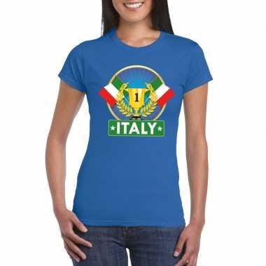 Blauw italie supporter kampioen shirt dames