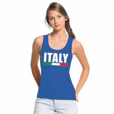 Blauw italie supporter singlet shirt/ tanktop dames