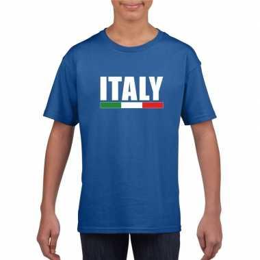 Blauw italie supporter t shirt kinderen