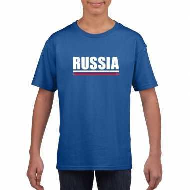 Blauw rusland supporter t shirt kinderen