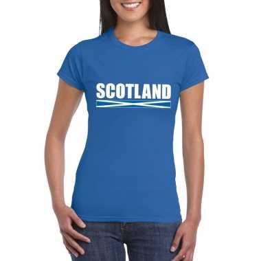 Blauw schotland supporter t shirt dames