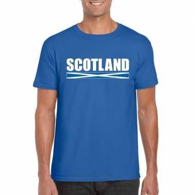 Blauw schotland supporter t shirt heren